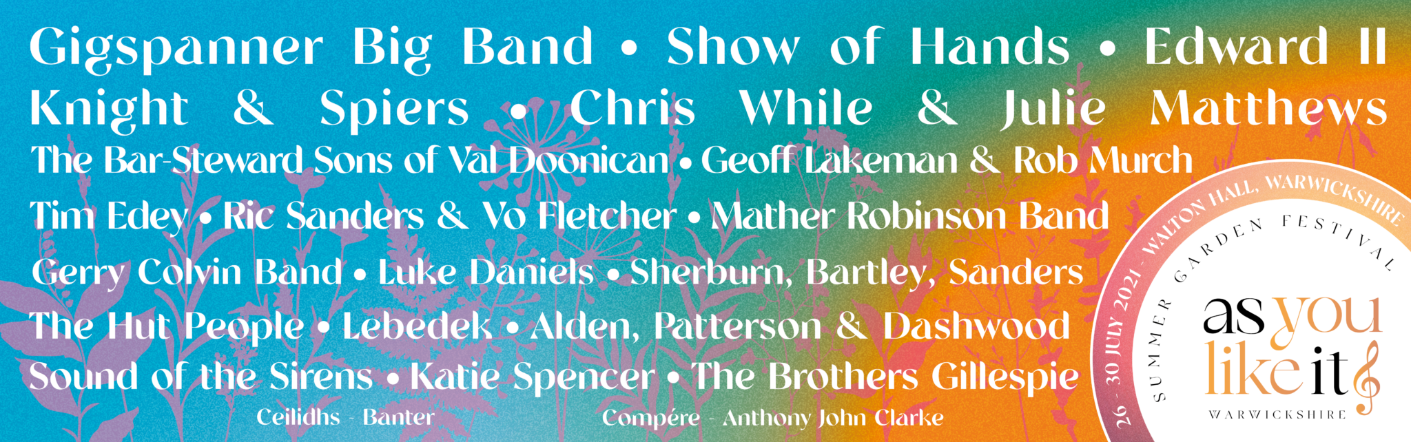 As You Like It Festival Line Up Website Banner